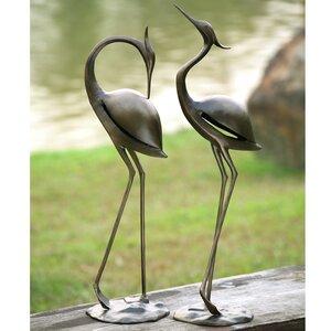 Stylized Garden Heron Pair Statue