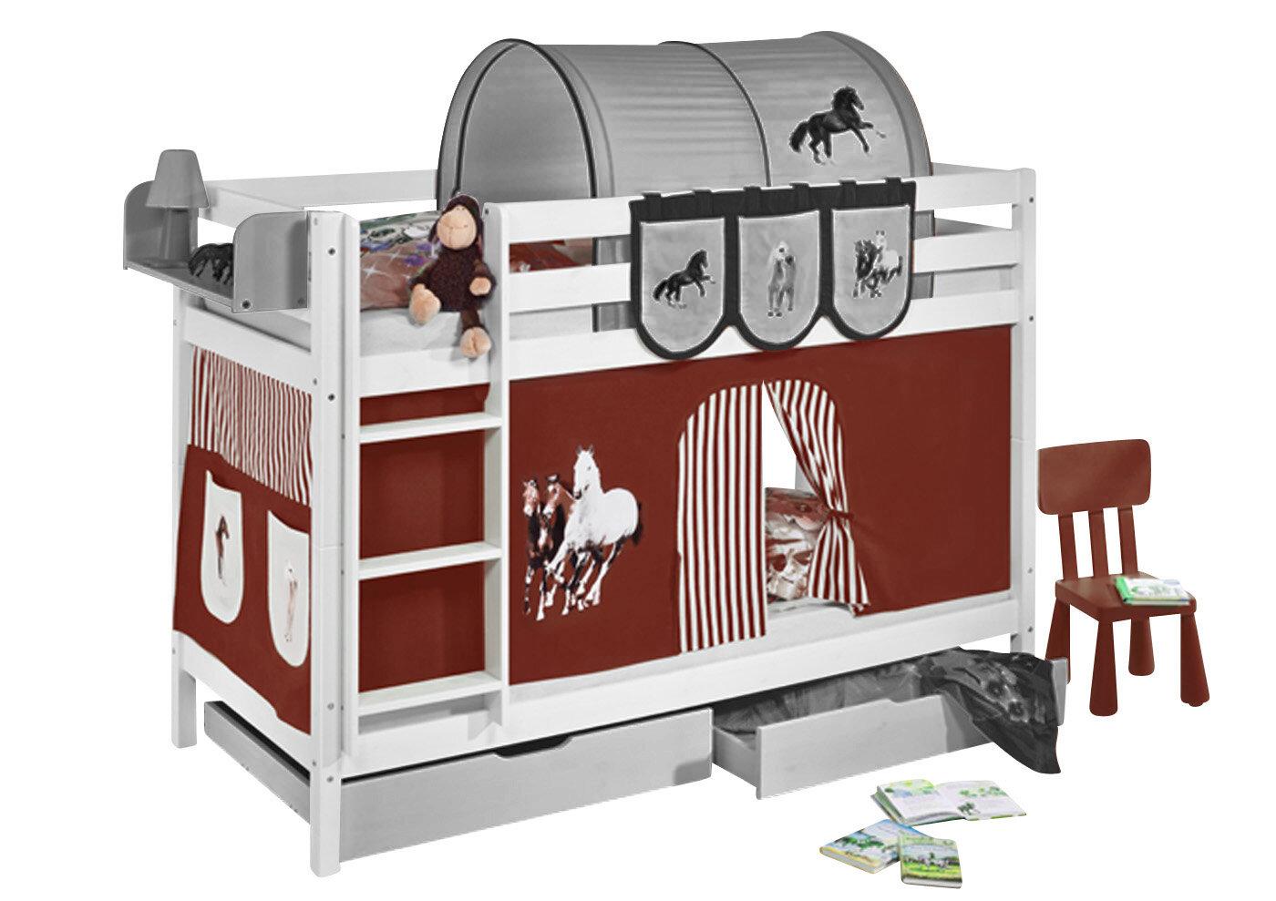 Etagenbett Wayfair : Lilokids etagenbett pferde mit schubladen und hochbettvorhang 90cm