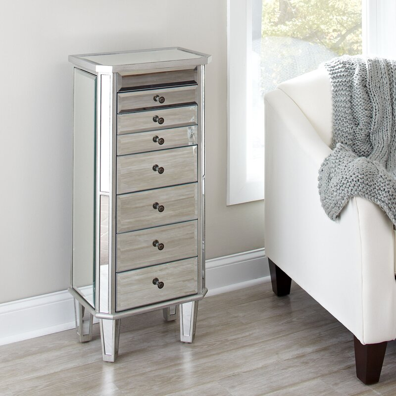 Charming Silva Mirrored Jewelry Armoire