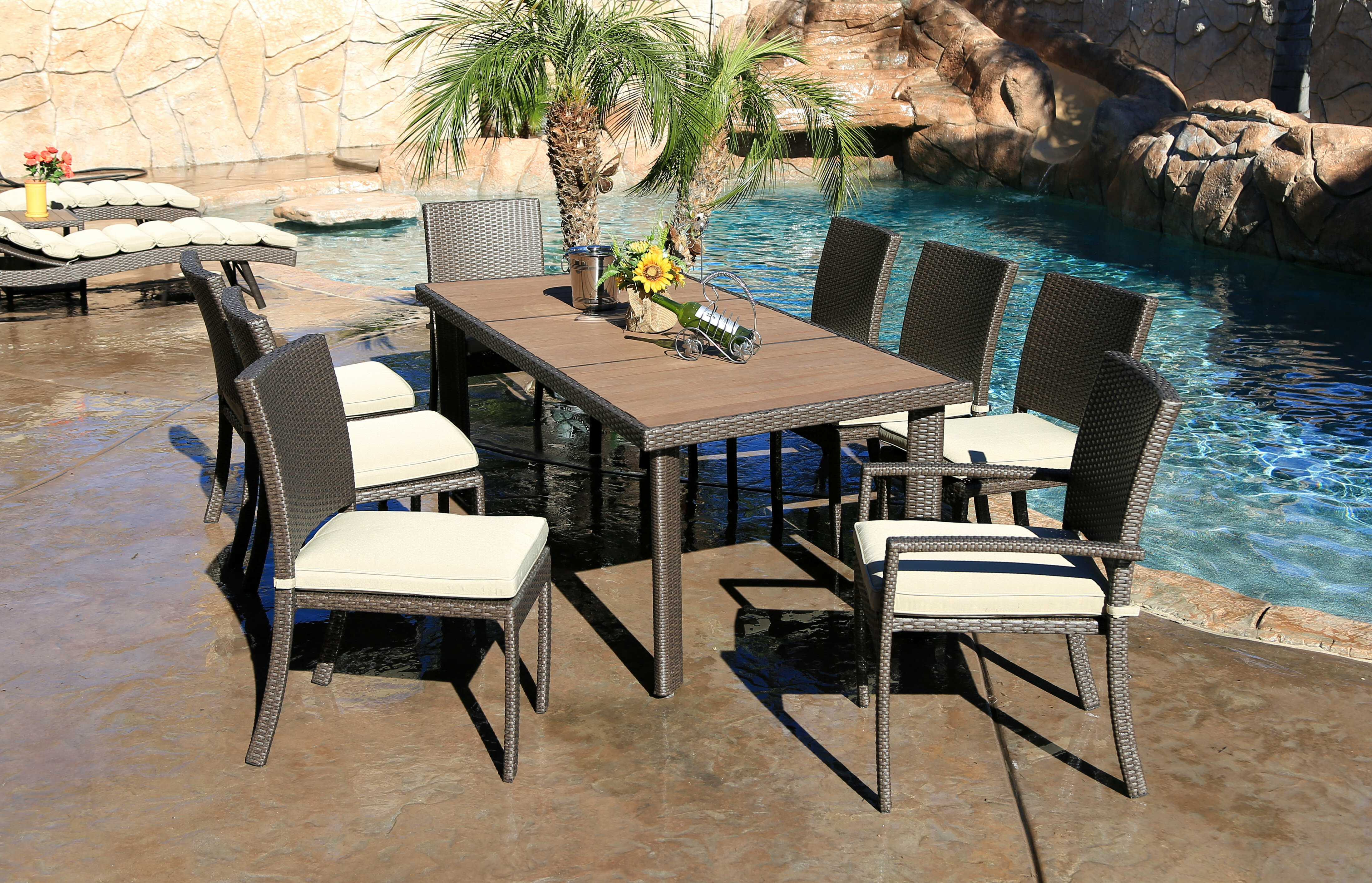Latitude Run Heffington Modern 9 Piece Dining Set With Cushion | Wayfair