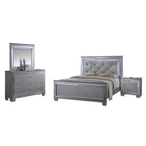 silver bedroom sets you'll love   wayfair