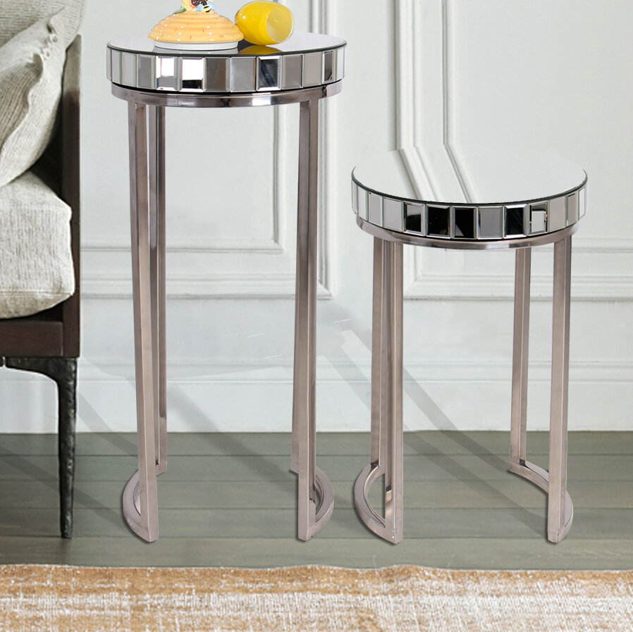 & Everly Quinn Laurine 2 Piece End Table Set | Wayfair