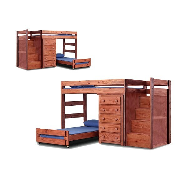 chery staircase twin over twin lshaped bunk bed with drawers