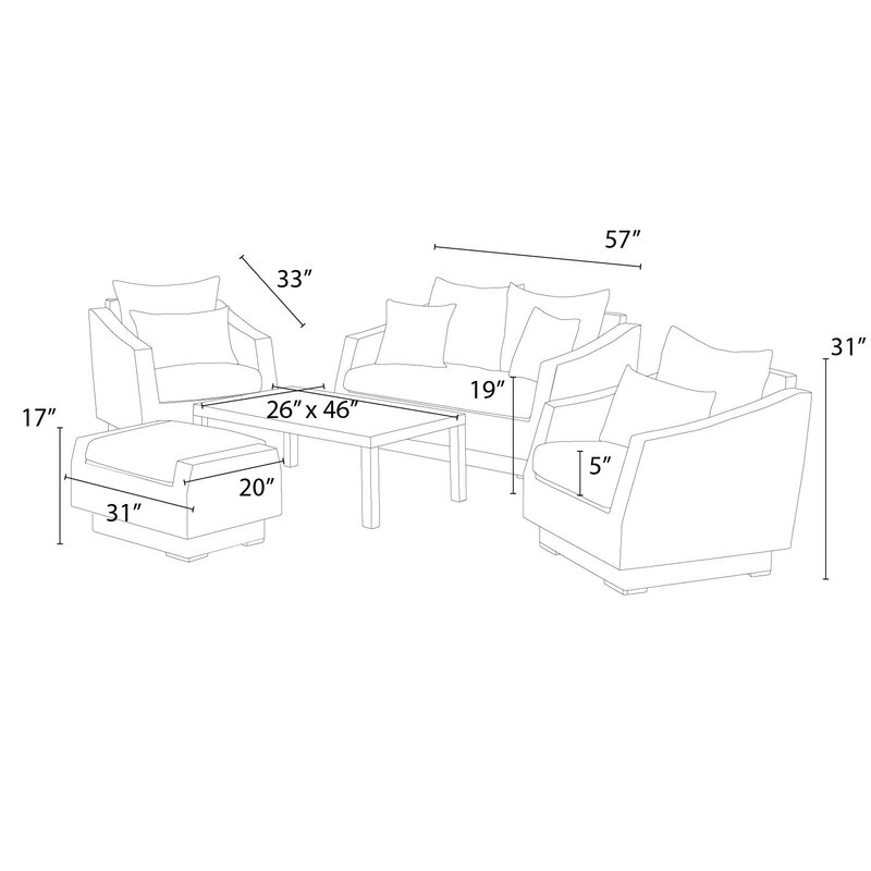 Wade Logan Castelli 5 Piece Sunbrella Sofa Set With Cushions Wayfair