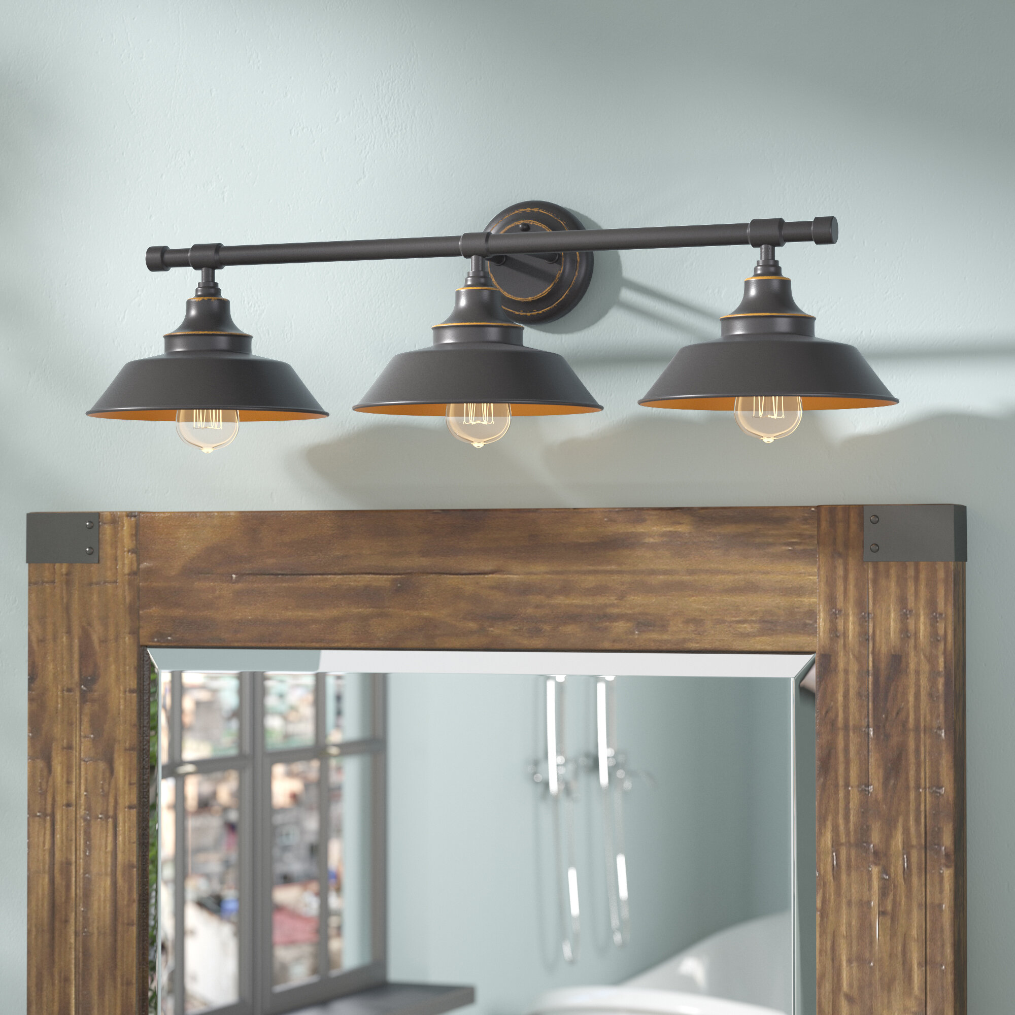 troy magnifying image bronze and shipyard cfm solid ribbed wide glass embarcadero item inch in clear bathroom bath light finish lighting shown vanity