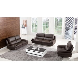 Harrison Leather 3 Piece Living Room Set
