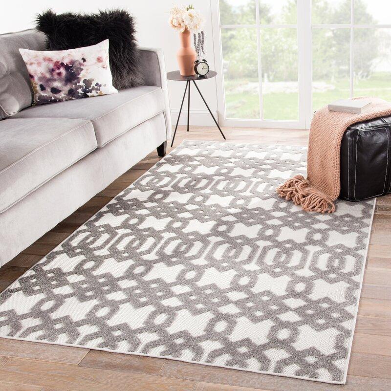 Nolita Trellis White/Light Gray Indoor/Outdoor Area Rug