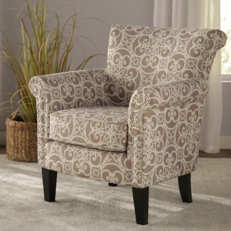 Alcott Hill Olson Accent Club Chair With Arms Upholstered Silver Nail Head Reviews Wayfair
