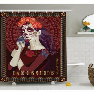 Deana Day Of The Dead Dia De Los Muertos Print Woman With Calavera Makeup Spanish Rose Art Shower Curtain