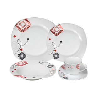 Porcelain 20 Piece Square Dinnerware Set Service for 4  sc 1 st  Wayfair & Square White Dinnerware Sets You\u0027ll Love | Wayfair