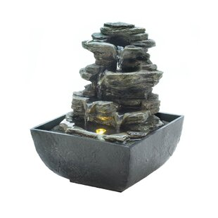 Resin Tiered Rock Tabletop Fountain with Light aa46d8d0a