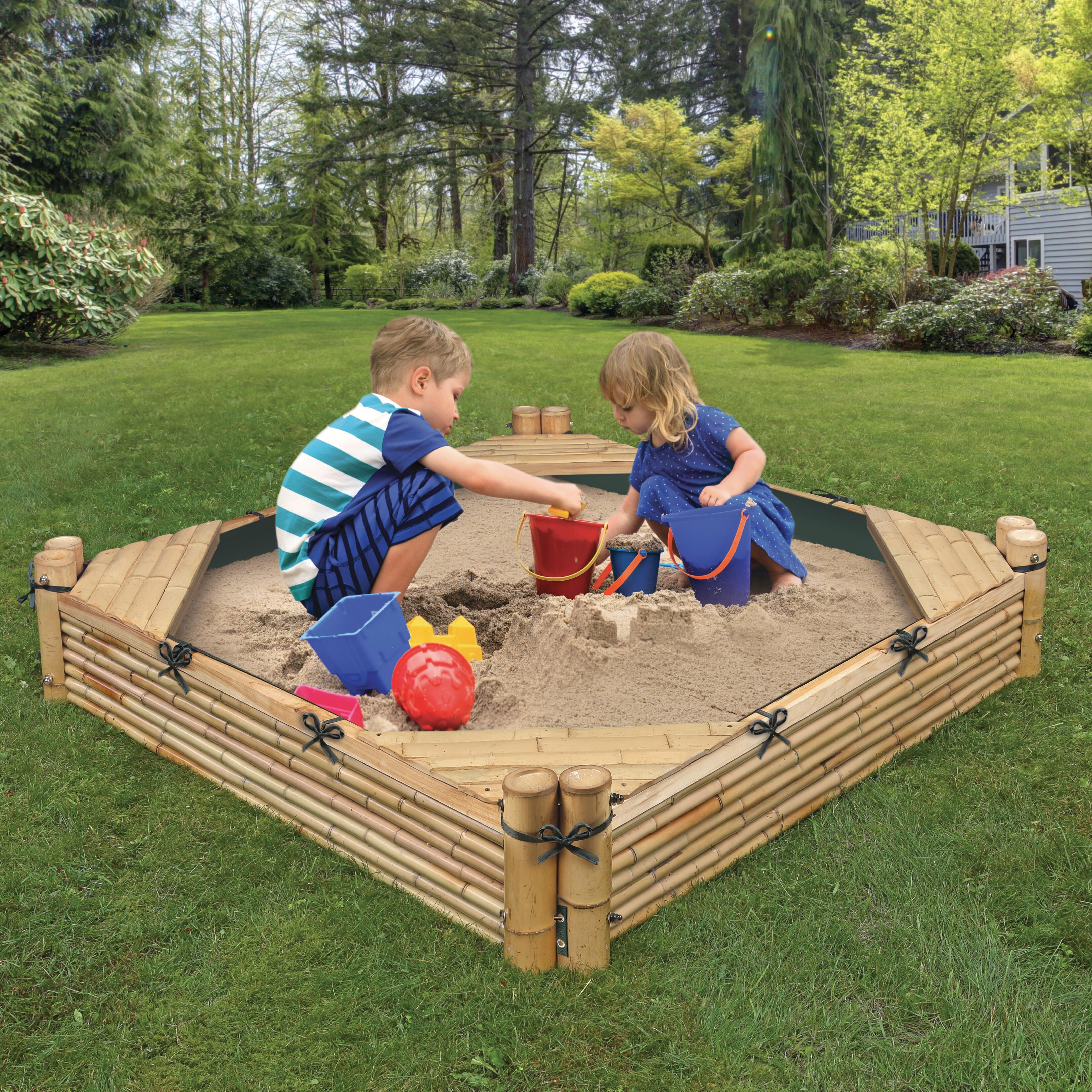 Badger Basket Bamboo Beach 4 6' Square Sandbox with Cover