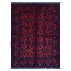 Angoy Afghan Hand Woven Wool Red Area Rug