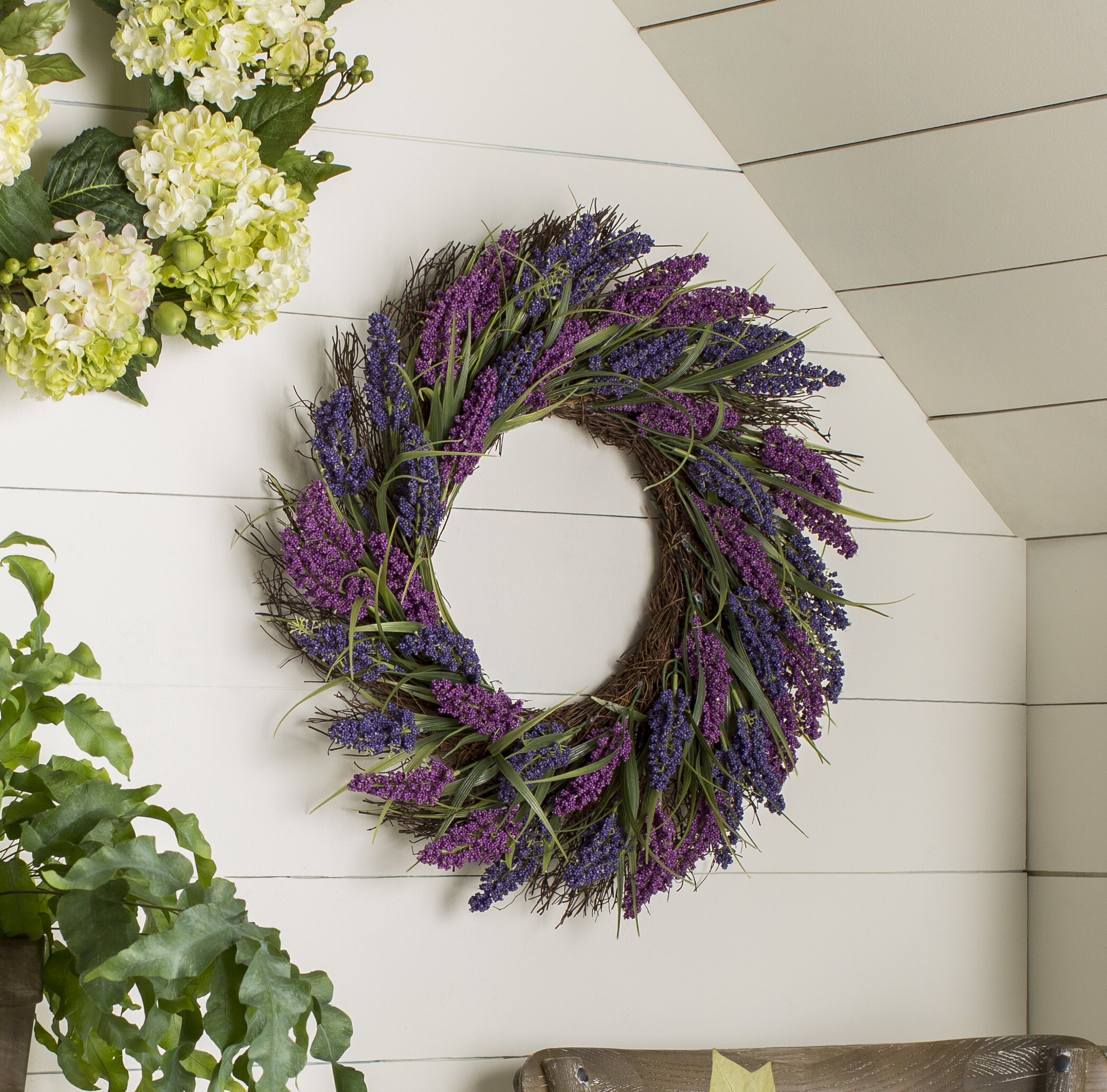 Ophelia Co Spring 22 Plum And Artificial Heather Floral Wreath