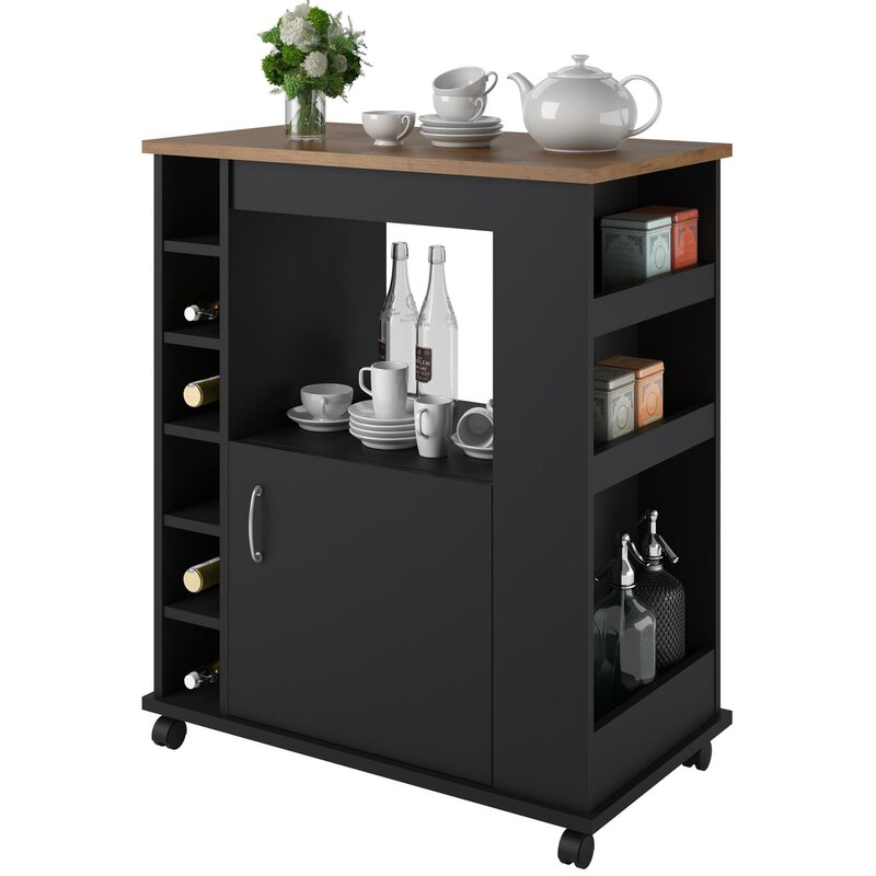 Superior Worcester Kitchen Cart With Wood Top