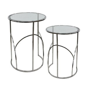 Kimmel Glass 2 Piece Nesting Tables by Orren Ellis