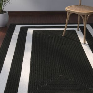Marti Hand-Woven Outdoor Black Area Rug