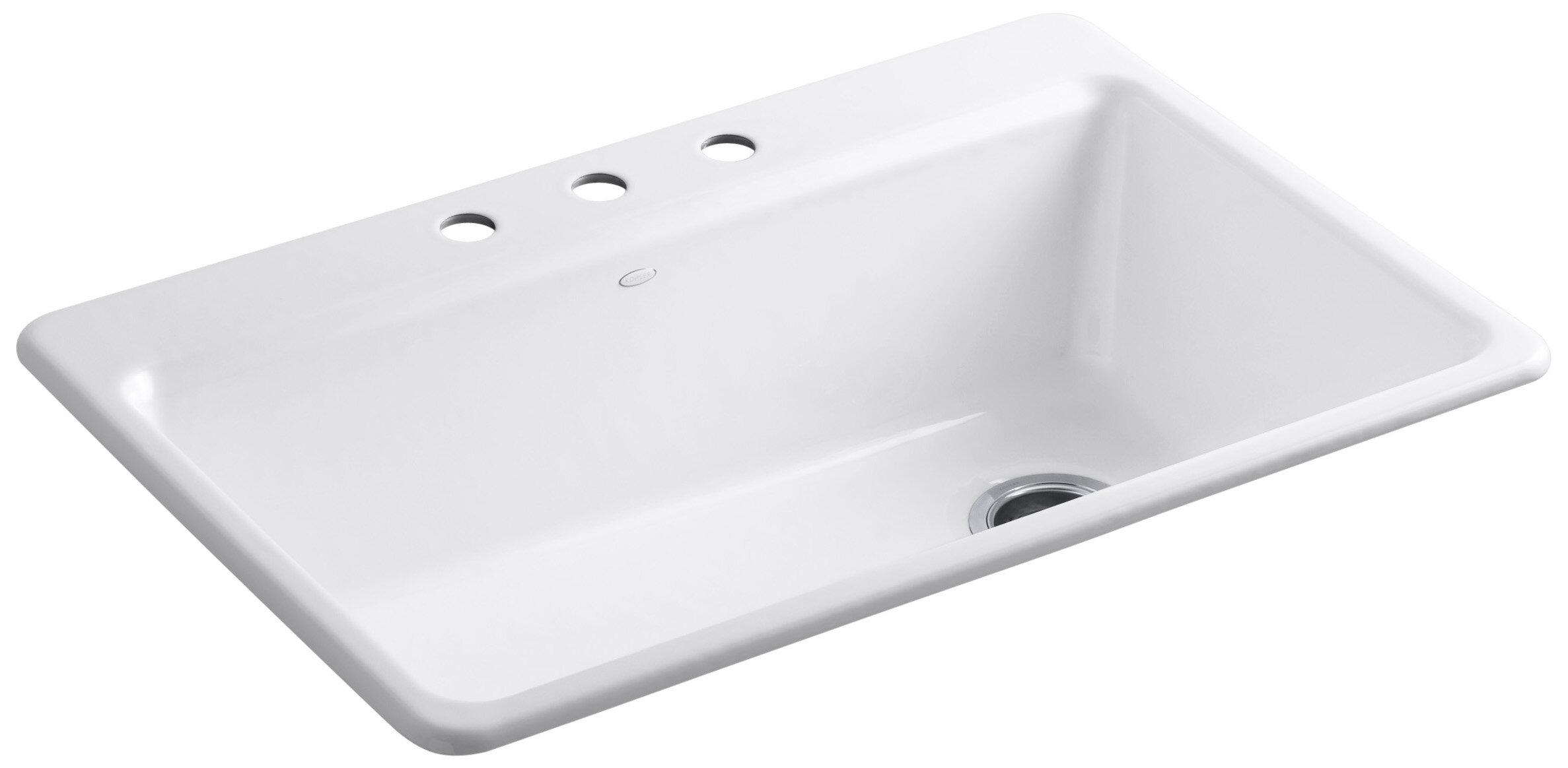 Kohler Riverby 33 X 22 X 9 5 8 Top Mount Single Bowl Kitchen Sink