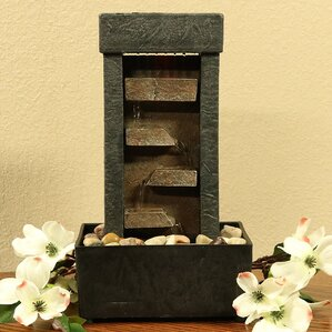 Resin Tiered Shelves Lighted Tabletop Fountain With Light