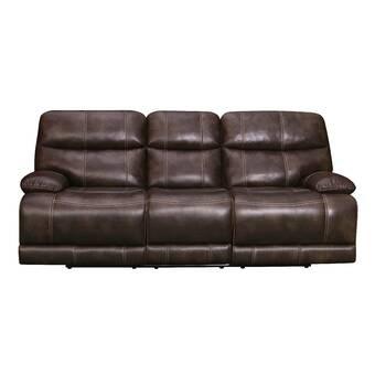 Red Barrel Studio Asbury Leather Reclining Sofa & Reviews | Wayfair