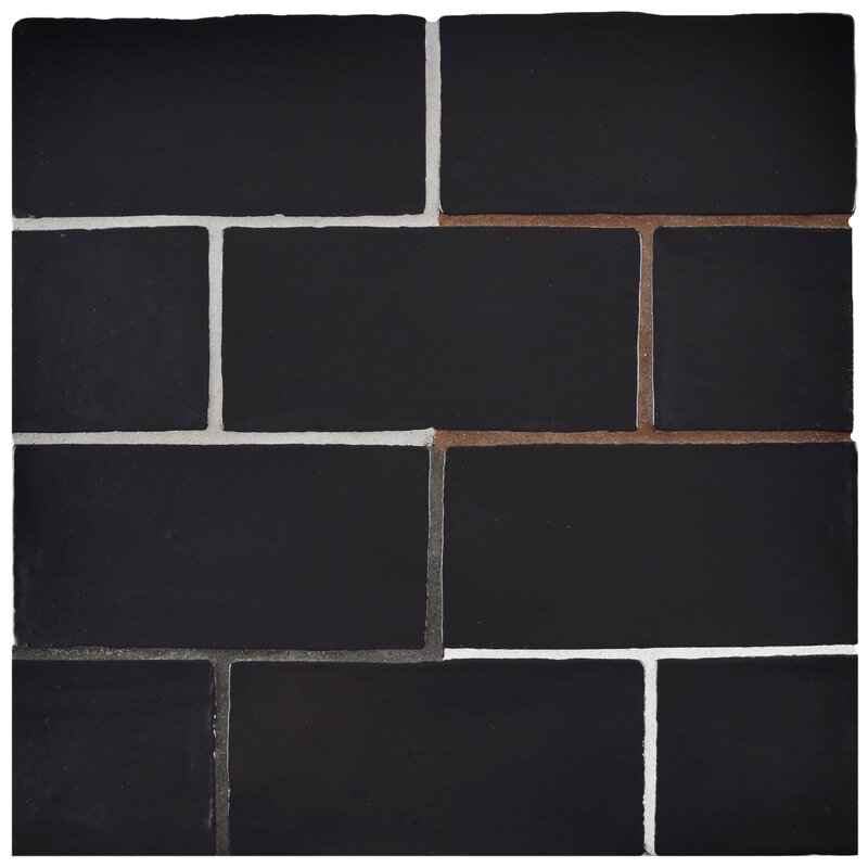 "Black Subway Tile elitetile tivoli 3"" x 6"" ceramic subway tile in matte black"