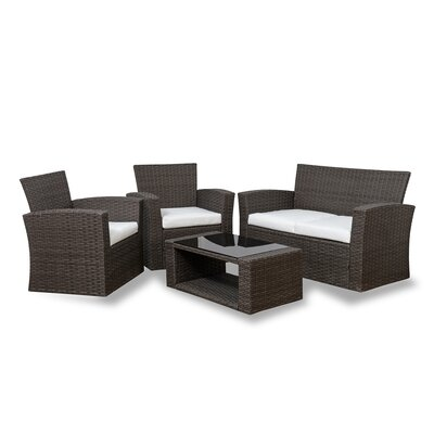 Alfonso 4 Piece Rattan Conversation Sofa Set With Cushions Reviews