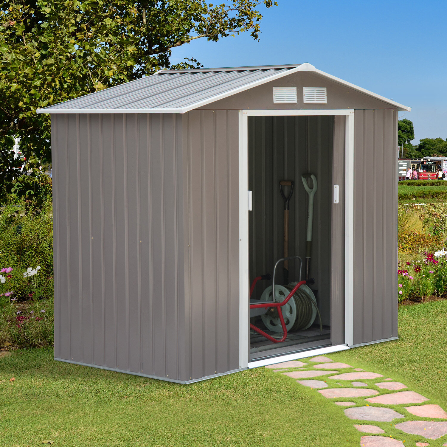 6 ft  H 4 ft  2 in  W x 7 ft  D Metal Storage Shed