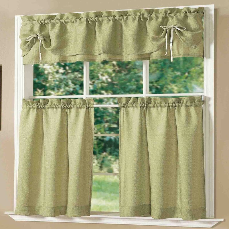 Kitchen Cabinet Valance: Dainty Home Lucia Kitchen Valance And Tier Set & Reviews