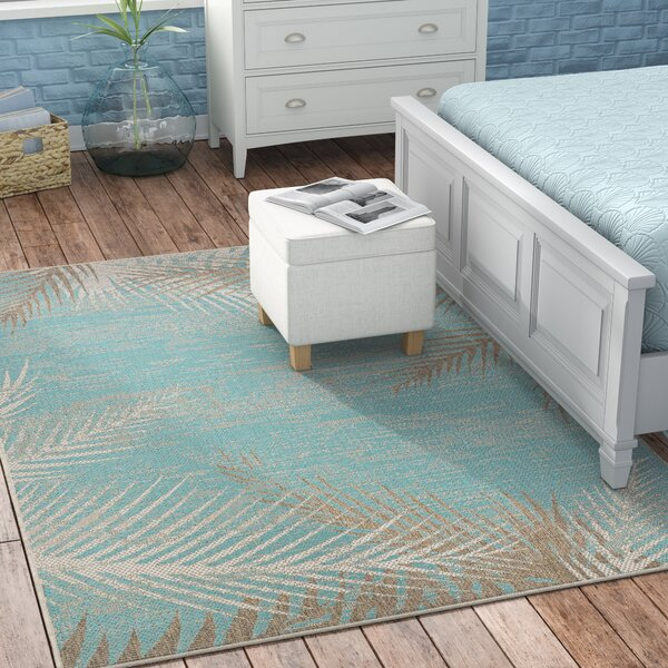 Odilia Tropical Palms Turquoise Gray Ivory Indoor Outdoor