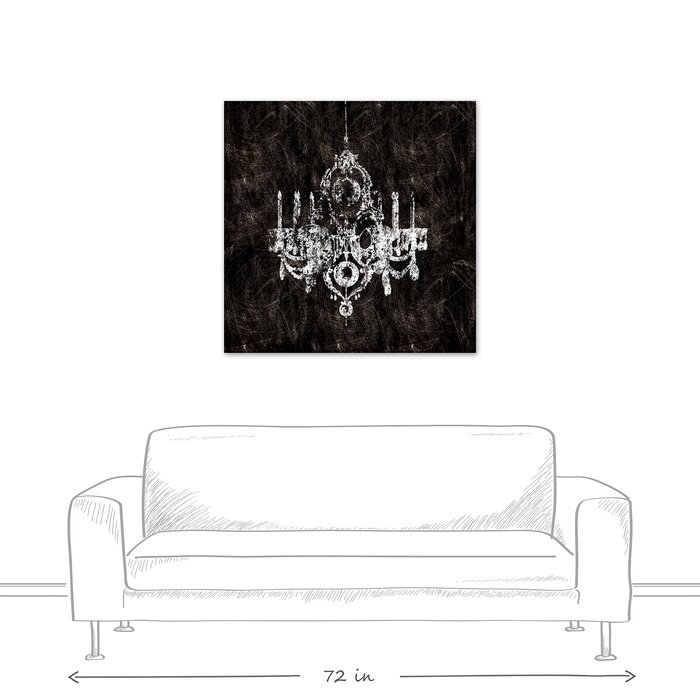 Black And White Chandelier Graphic Art Print On Wrapped Canvas