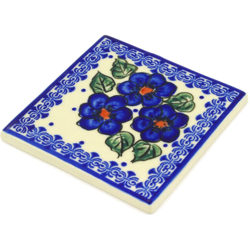 Greek Poppies 4 37 X 4 37 Polish Pottery Decorative Accent Tile