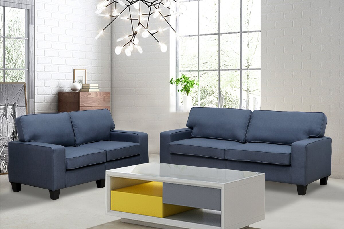 Living In Style Jordan Linen 2 Piece Modern Living Room Sofa and