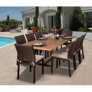 Elsmere 9 Piece Dining Set With Cushions