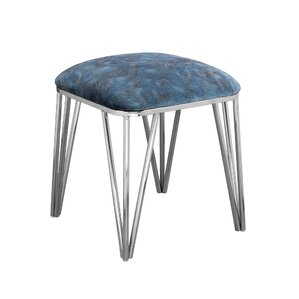 Jeanelle Polished Upholstered Steel Ottoman by Everly Quinn