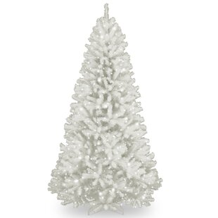 spruce 7 white artificial christmas tree with 550 clear lights and stand - White Flocked Christmas Trees
