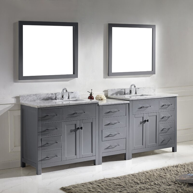 Bathroom Vanity Set. Southwind 92 8  Double Bathroom Vanity Set with Carrara White Top and Mirror