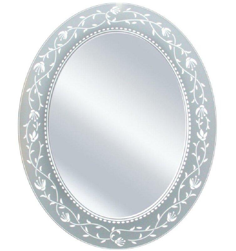 Lark Manor Morandiere Oval Etched Border Bathroom/Vanity Mirror & Reviews
