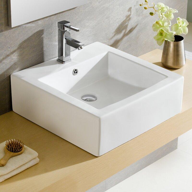 Modern Ceramic Square Vessel Bathroom Sink with Overflow Fine Fixtures