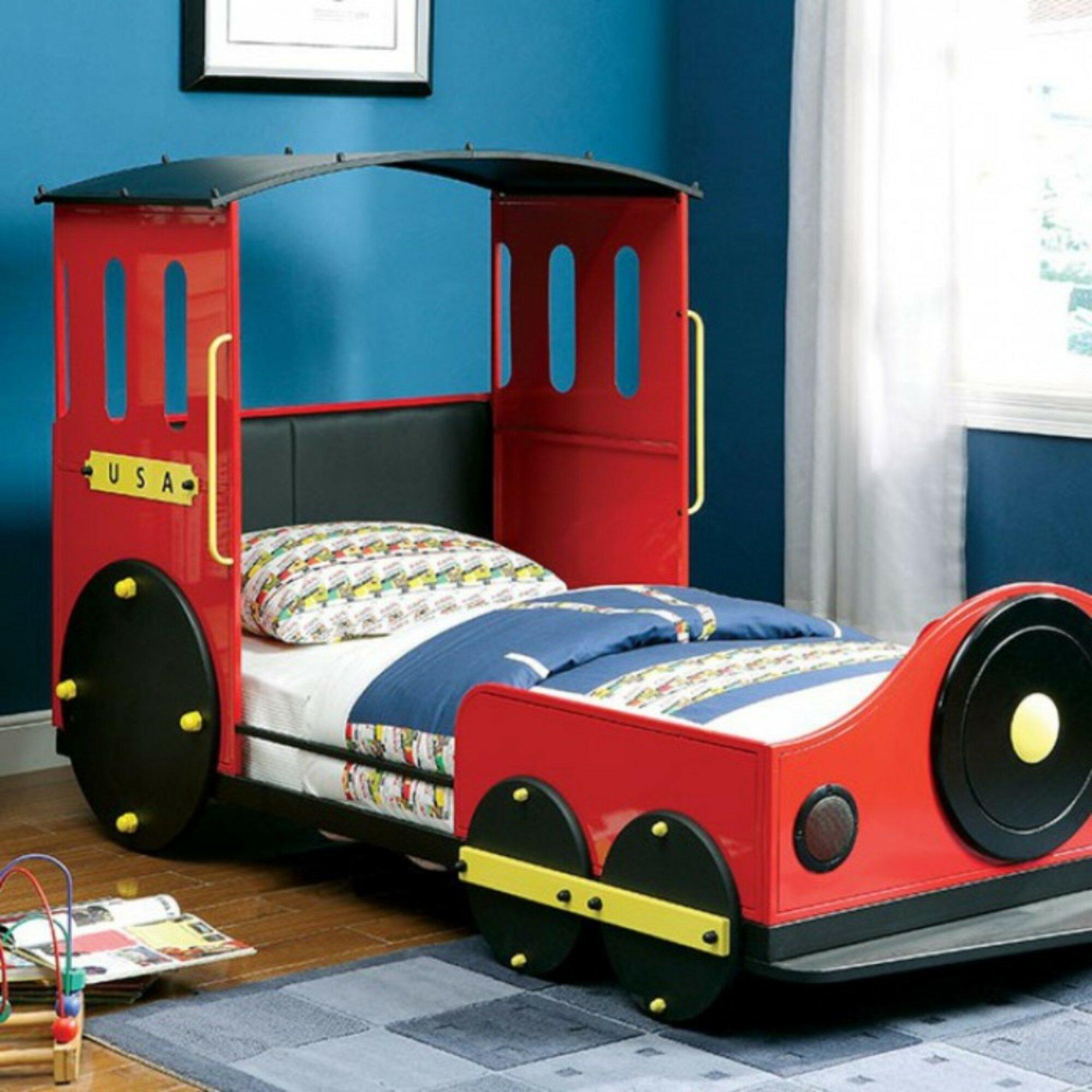 Zoomie Kids Harborcreek Retro Express Train Twin Car Bed Wayfair