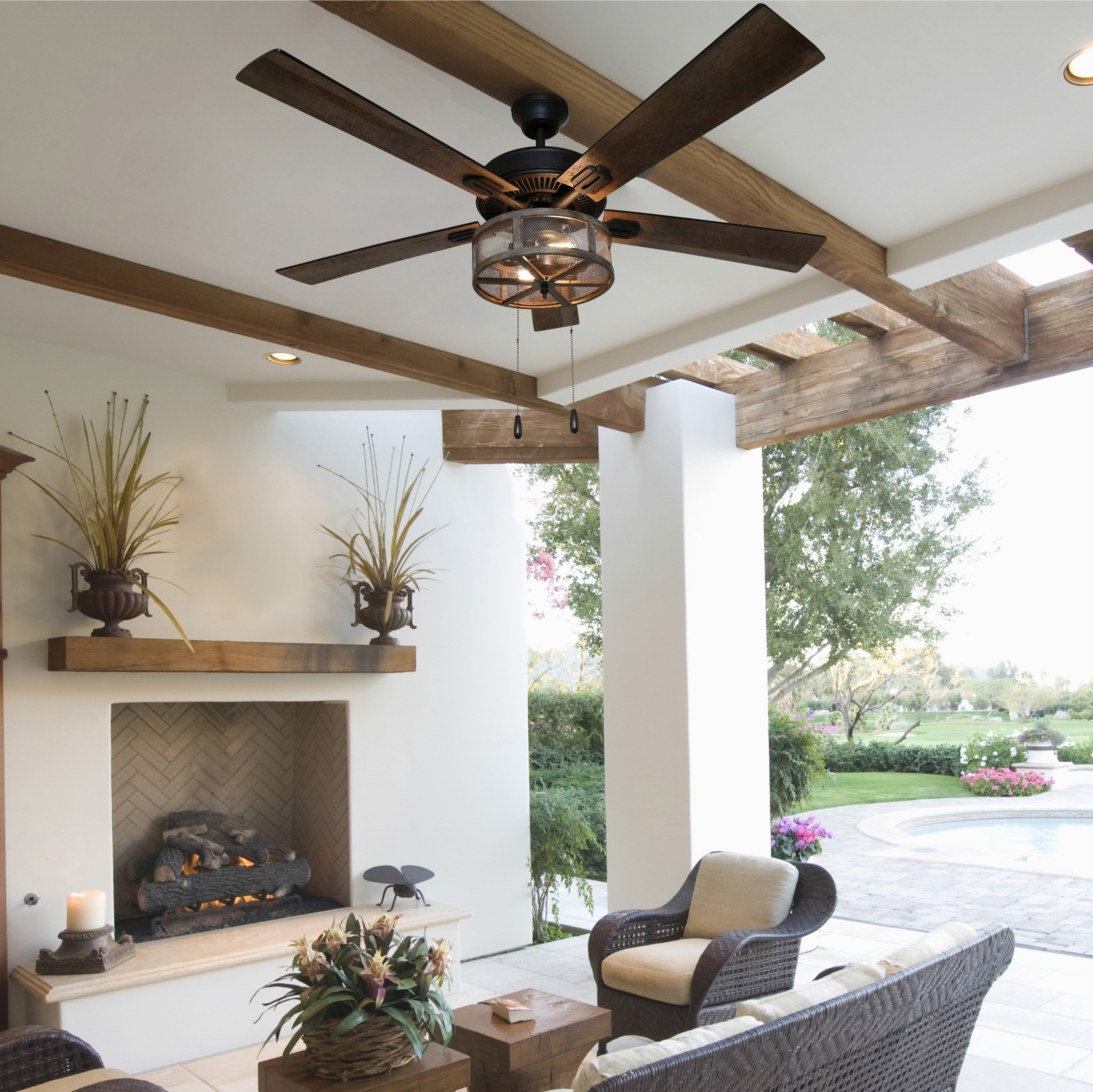 52 Abbigail Woodgrain Caged Farmhouse 5 Blade Ceiling Fan With Remote Light Kit Included