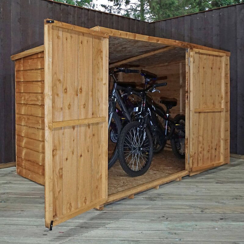 home essence 6 ft w x 4 ft d overlap pent wooden bike. Black Bedroom Furniture Sets. Home Design Ideas