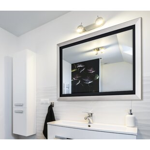 Brushed Nickel Bathroom Mirror. Brushed Nickel Silver and Satin Black Wide Flat Wall Mirror  Wayfair