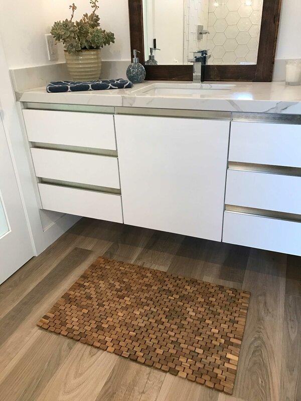 Hip-O Modern Living Oversized Solid Teak Indoor/Outdoor Floor Mat ...