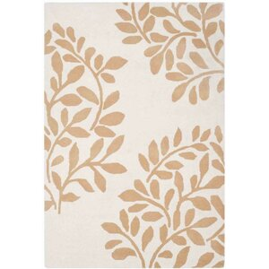 Leaf Stamp Hand-Loomed Tan/Brown Area Rug