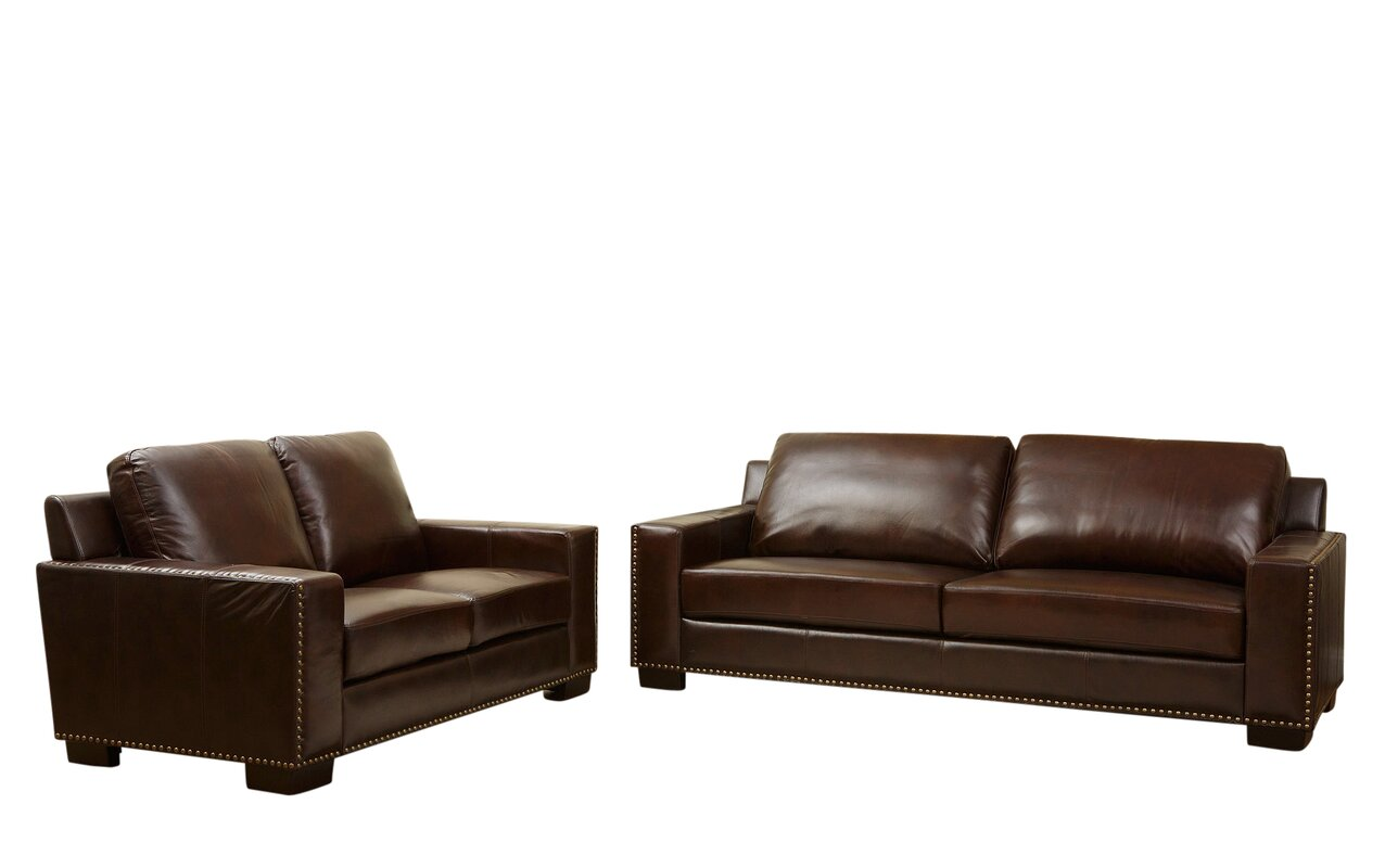 Darby home co william 2 piece leather living room set reviews wayfair 2 piece leather living room set