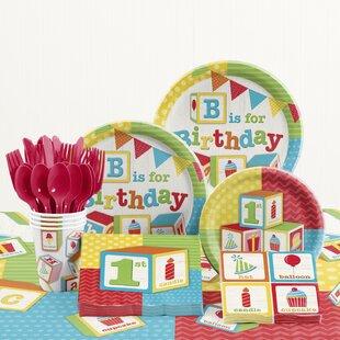 82 Piece ABC Blocks 1st Birthday Party Supplies Set