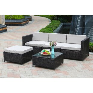 79be149152 Izora Outdoor 5 Piece Rattan Sectional Seating Group Set with Cushions (Set  of 5)