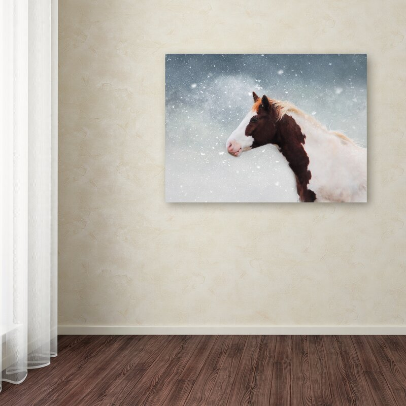 Paint Horse In The Snow Graphic Art Print On Wrapped Canvas