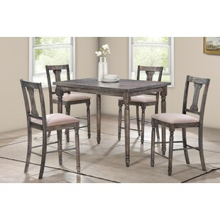 Douglass 5 Piece Counter Height Solid Wood Dining Set