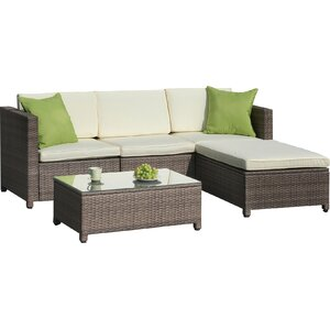 Palm Spring 5 Piece Sectional Set With Cushions
